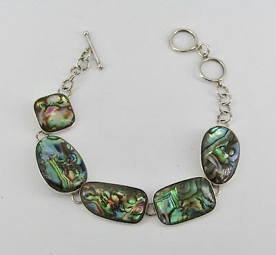 Signed LUC Sterling Silver Abalone Toggle Bracelet; 11.47 Grams; Item# R672
