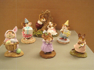 Wee Forest Folk Lot of (6) assorted mice Including Hearts and Flowers.