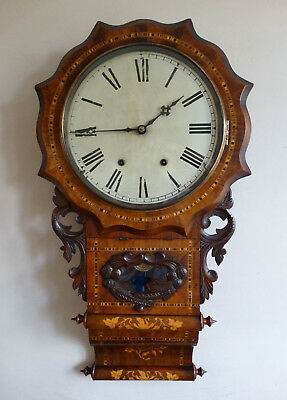 Antique Victorian Drop Dial Wall Clock by New Haven USA c1880 Bell Chiming 8 Day