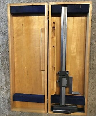 Vintage Brown & Sharpe 12 Inch Height Gage No. 586 In Wood Case Made In U.s.a.