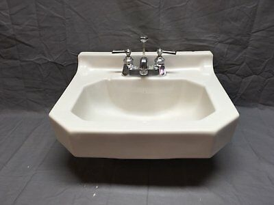 Antique Art Deco Wall Mount White Porcelain Ceramic Bath SInk Old Vtg 37-18E