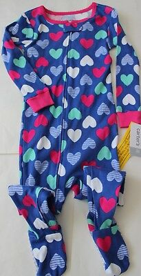 Carter's Pajamas 12 M 2 2T Footed NWT Sleepwear Cotton FREE Hearts Girl's