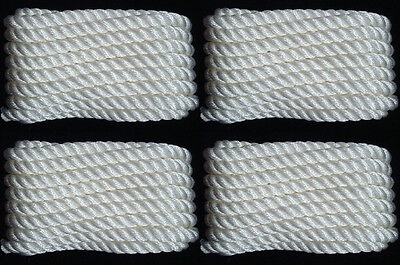 "(4) WHITE Twisted 3 Strand 1/2"" x 25' ft HQ Boat Marine DOCK LINES Mooring Ropes"