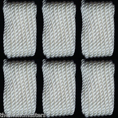 "(6) WHITE Twisted 3 Strand 1/2"" x 25' ft HQ Boat Marine DOCK LINES Mooring Ropes"