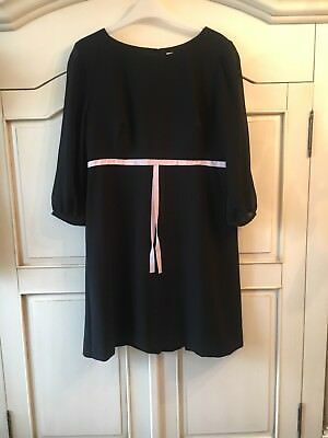 Ted Baker Black Dress With Pink Fixed Tie Size 3 (12) BNWT