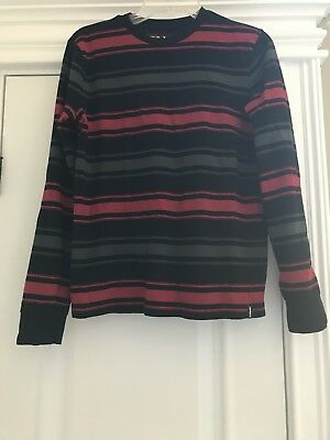 Tony Hawk Boys Long Sleeve Red Black Gray Striped Sweater Shirt Size XL 18-20
