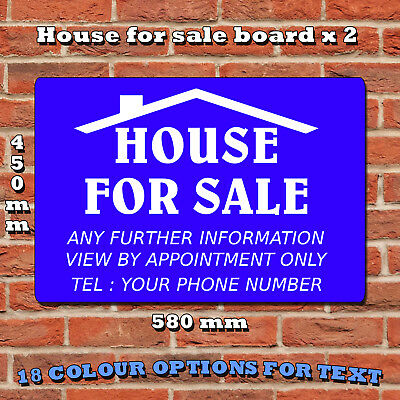 FOR SALE sign boards Personalised x 2, Custom Estate Agent Signs, FREE P&P