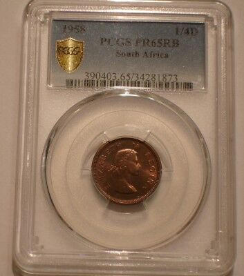 1958 Farthing of South Africa PCGS PR 65 RB secure shield Pupulation 1 POP TOP