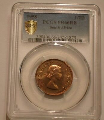 1958 Half Penny of South Africa PCGS PR 66 RB Population of 1 none finer POP TOP