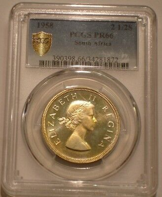 1958 Silver 2 1/2 Shillings of South Africa PCGS PR 66 Pop of 6 with 3 finer