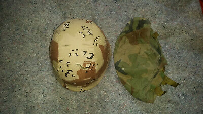 US Army PASGT Kevlar Helmet W/Desert and Woodland Camo Covers Large