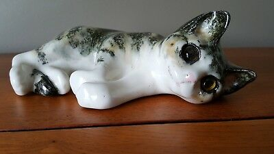 "Vintage Winstanley 7B England Saks 5th Avenue Ceramic Calico Kitten Cat 8"" long"