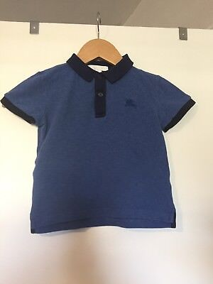 Authentic Burberry Children Kids Blue Polo Shirt Boys Size 4