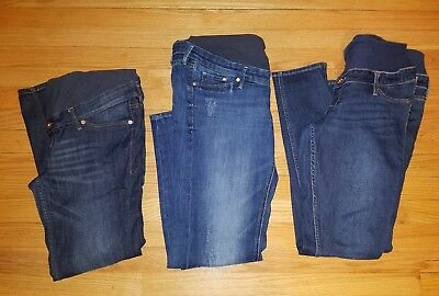 Lot of 3! H&M Women's &Denim Mama Skinny Low & High Rib Maternity Jeans Size 12