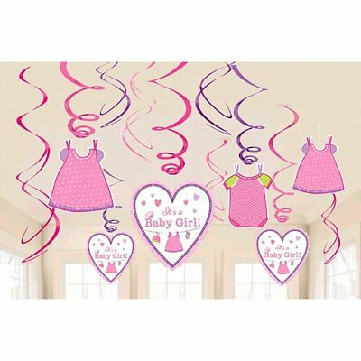 "Amscan Delightful Love Girl Value Swirl Baby Showers 7"" Pack 12 Childrens Party"