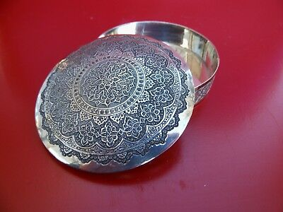 Round Solid Silver Vintage Persian Box with Lid, 47 years old