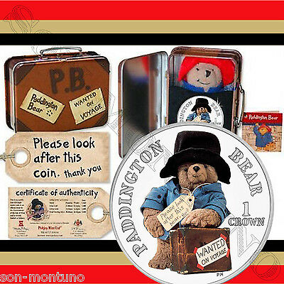 PADDINGTON BEAR 50th Anniversary CuNi Coin Plush Bear/Suitcase 2008 Isle of Man