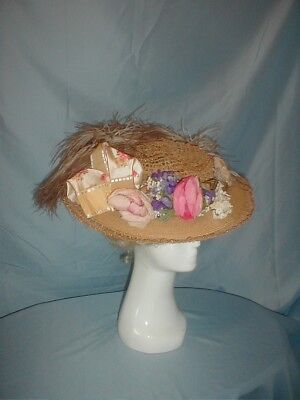 Antique Hat 1912 Edwardian Straw Floral and Feather Trim