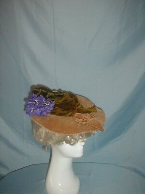 Antique Hat 1890 Victorian Tan and Olive Green Velvet Hat