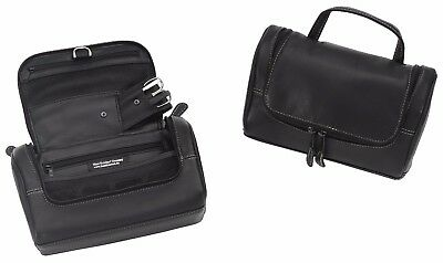 Hans Kniebes Leather Washbag Toiletry Bag to Hang Up incl. Manicure Case