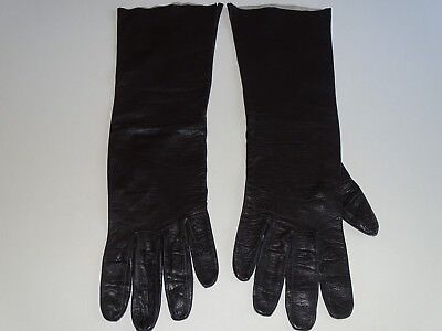 Vintage Womens Gloves Leather Black Long Size 8