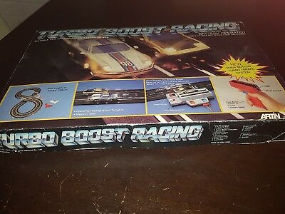 Vintage Artin Slot Car Set Porche Datsun Turbo Boost Racing