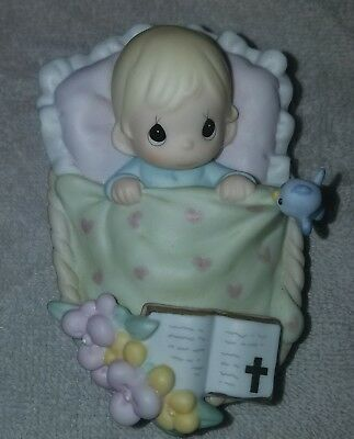"""Precious Moments """"a Godchild Close To My Heart"""" 804096 Baby Girl In Basket/new"""
