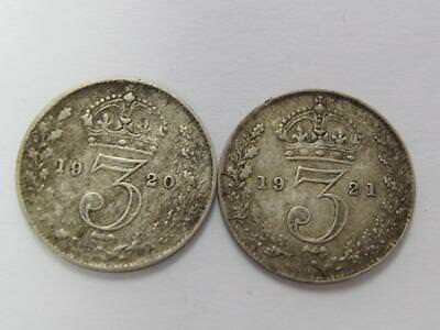 Britain A Pair Of Silver 3 Pence Better Dates 1920 1921 Nice Type Coins