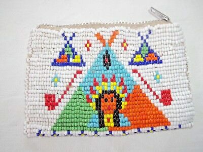 Vintage Beaded Native American Coin Purse Souvenir Teepee Peace Pipe