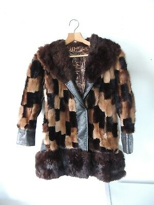 Vintage Retro 60s 70s RHOMBERG'S Fur Leather Trim Coat Womens RHOMBERG