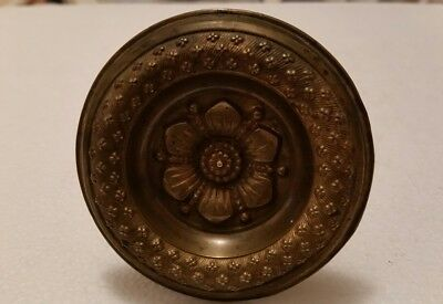 Large  Antique decorative brass curtain tie back  FLoral pattern  (186H)