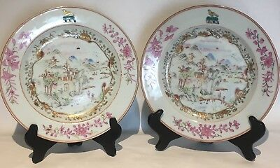 PAIR Antique Chinese Famille Rose Armorial Export Plates Landscape Scene