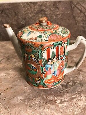 Antique 19th C. Chinese Export Porcelain Teapot Famille Rose Canton Mandarin
