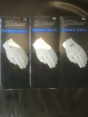 Titleist Perma Soft Gloves   Medium  Size  Brand New 3 Gloves