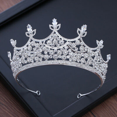 7cm High Clear CZ Crystal Large Wedding Bridal Party Pageant Prom Tiara Crown