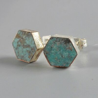 8mm Hexagon Natural Genuine Turquoise Stud Earrings Silver Plated B057965