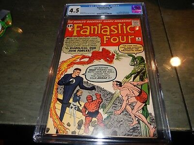 Fantastic Four #6 CGC 4.5 1st marvel villain team-up, 2nd Dr. Doom NO RESERVE