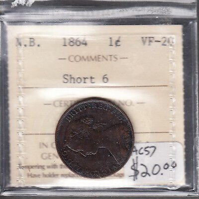 1864 New Brunswick  - 1 Cent - VF-20 - ICCS Graded Short 6 - AC57