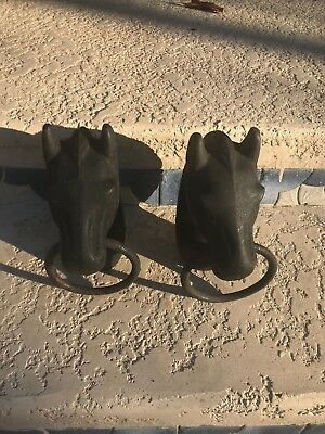 Antique Ornate Heavy Cast Iron Horse Heads Hitching Post Fence Topper