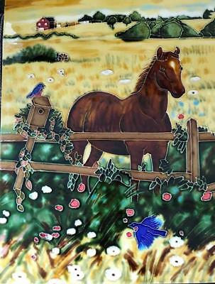 Horses & Bird - Ceramic Tile - 11in x 14in - New From Gallery (T022-023)