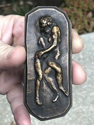 Rare Bronze Relief Art Medal WWI French Actors Fund Designed By Rodin 1916