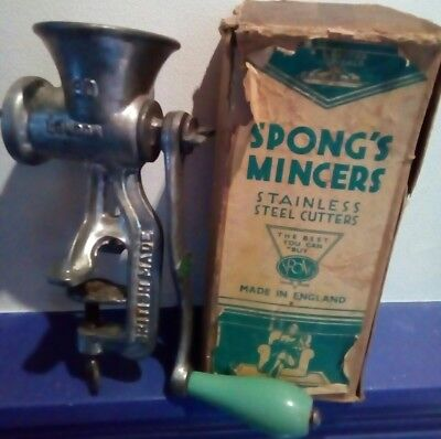 Vintage Spong's Mincers METAL MEAT MINCER original box Retro Kitchen 40s 50s