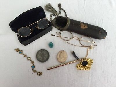 Lot of Mixed Vintage/Antique collectibles. Pince nez, Cameo etc.