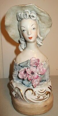 Cybis Cordey Pottery Lady Figurine Rose Accents and Straw Hat #5027