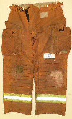 27x31 Firefighter Pants Bunker Fire Turn Out Gear Red-Brown Morning Pride  P817