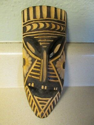 Hand Carved Wooden Mask Black And Natural Wood