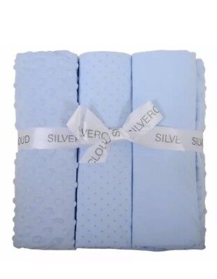 Baby Cot CotBed Fitted Sheet Flat Sheet Fleece Blanket Bedding Bale Set Blue New