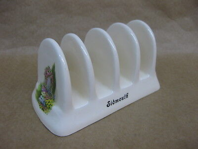 Vintage Brixham Pottery Toast Rack ~ Sidmouth ~ 4 Slice ~ Floral Decoration