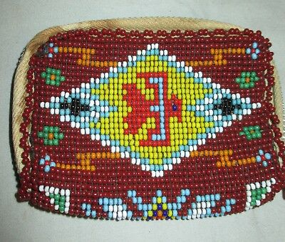 Vtg Native American Indian Beaded Thunderbird Zippered Leather Coin Purse