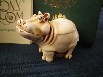 Harmony Kingdom It's A Fine Day Hippo Early Pc Before Stamps Retired 6/1/1996